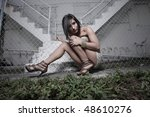 woman posing by an abandoned... | Shutterstock . vector #48610276