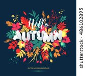text hello autumn in paper... | Shutterstock .eps vector #486102895