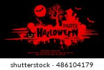 halloween night background with ... | Shutterstock .eps vector #486104179