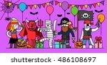 vector illustration   halloween ...   Shutterstock .eps vector #486108697