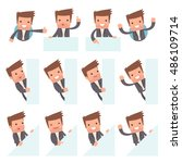 set of funny and cheerful... | Shutterstock .eps vector #486109714