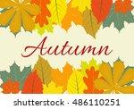 autumn leaves set  vector...   Shutterstock .eps vector #486110251