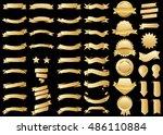 banner gold vector icon set on... | Shutterstock .eps vector #486110884