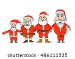 set of santa claus in cartoon... | Shutterstock . vector #486111535