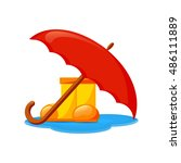 rubber boots and umbrella ... | Shutterstock .eps vector #486111889
