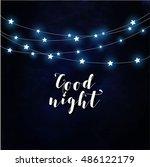 goodnight poster vector  | Shutterstock .eps vector #486122179