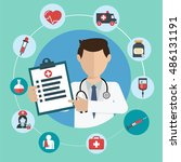 doctor with medical icons in a... | Shutterstock .eps vector #486131191