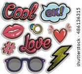 sketch comics set of stickers... | Shutterstock .eps vector #486136315