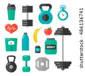 gym  healthcare  workout ... | Shutterstock .eps vector #486136741