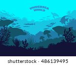 undersea world illustration... | Shutterstock .eps vector #486139495
