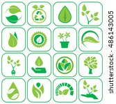 ecology icons set vector... | Shutterstock .eps vector #486143005