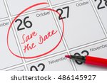 save the date written on a... | Shutterstock . vector #486145927