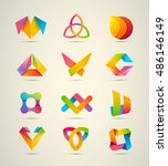 vector design logo elements big ... | Shutterstock .eps vector #486146149