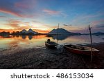 beautiful majestic sunrise by... | Shutterstock . vector #486153034