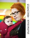 portrait of a happy mother... | Shutterstock . vector #486154915