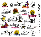set of happy halloween badges... | Shutterstock .eps vector #486158545
