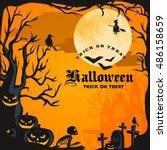 halloween background. horror... | Shutterstock .eps vector #486158659