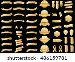 banner gold vector icon set on... | Shutterstock .eps vector #486159781