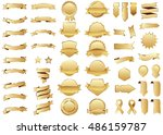 banner gold vector icon set on... | Shutterstock .eps vector #486159787
