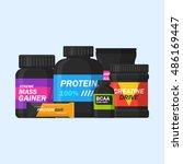 sports supplements vector set... | Shutterstock .eps vector #486169447