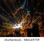 welding robots movement auto... | Shutterstock . vector #486169759