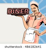 vector image retro style diner... | Shutterstock .eps vector #486182641
