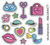 sketch comics set of stickers... | Shutterstock .eps vector #486184477