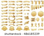 banner gold vector icon set on... | Shutterstock .eps vector #486185239