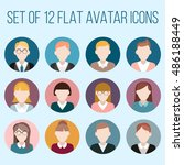 set of flat avatar icons. male... | Shutterstock .eps vector #486188449