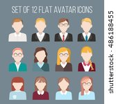 set of flat avatar icons. male... | Shutterstock .eps vector #486188455