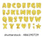 hand drawn balloon alphabet.... | Shutterstock .eps vector #486190729