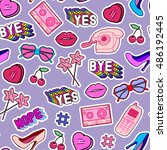 seamless pattern with patches ... | Shutterstock .eps vector #486192445