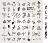 set of black hand drawn... | Shutterstock .eps vector #486193507
