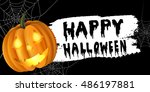 halloween pumpkin label | Shutterstock .eps vector #486197881