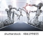 3d rendering robotic arms with... | Shutterstock . vector #486199855