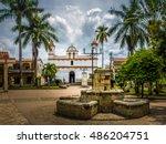 main square of copan ruinas... | Shutterstock . vector #486204751