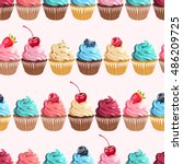 seamless cupcakes and polka dot | Shutterstock .eps vector #486209725