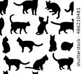 seamless  with black cat. can... | Shutterstock . vector #486210481
