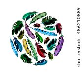 feathers. circle pattern on... | Shutterstock . vector #486210889