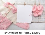 baby girl clothes with blank... | Shutterstock . vector #486212299
