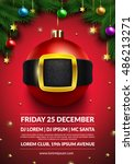 christmas party poster design.... | Shutterstock .eps vector #486213271