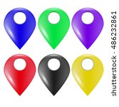 vector set of colorful marker... | Shutterstock .eps vector #486232861