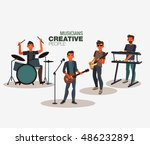 music band. group of young rock ... | Shutterstock .eps vector #486232891