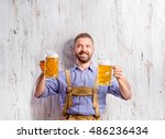 man in traditional bavarian... | Shutterstock . vector #486236434