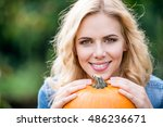 close up  beautiful young blond ... | Shutterstock . vector #486236671