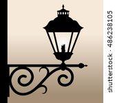 Vintage Lantern. Silhouette Of...