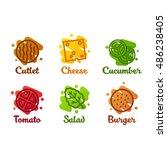 icon burger ingredient | Shutterstock .eps vector #486238405