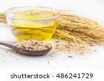 rice bran oil in bottle glass...   Shutterstock . vector #486241729