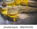 rice bran oil in bottle glass... | Shutterstock . vector #486242281