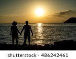 silhouette of the loving couple  | Shutterstock . vector #486242461